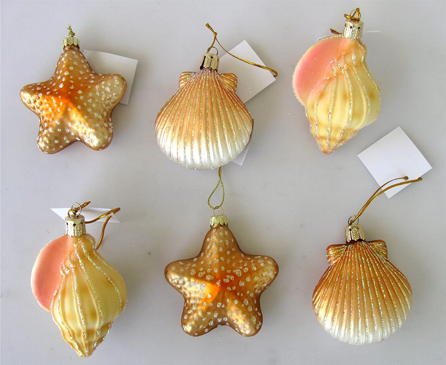 6 Blown Glass Seashell Ornaments