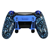 PS4 Elite Controller Soft Touch Blue Chrome Custom with Paddles, Trigger Stops. Professional level graded equipment. Tournament approved and legal! For FPS games, COD WW2, Fortnite, Destiny, Black Ops (Color: Soft Touch Blue)