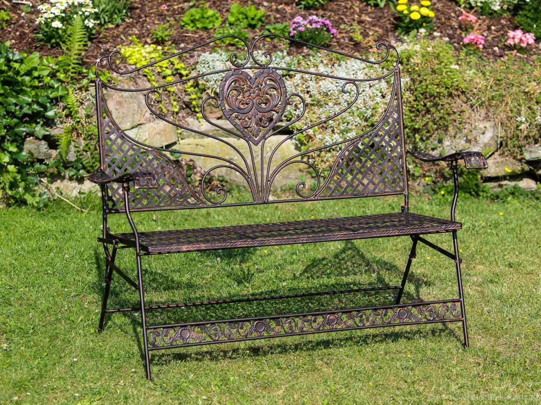 Nostalgie Gartenbank Herz Blumen Eisen antik Stil Braun Gartenmöbel Bank garden online bestellen