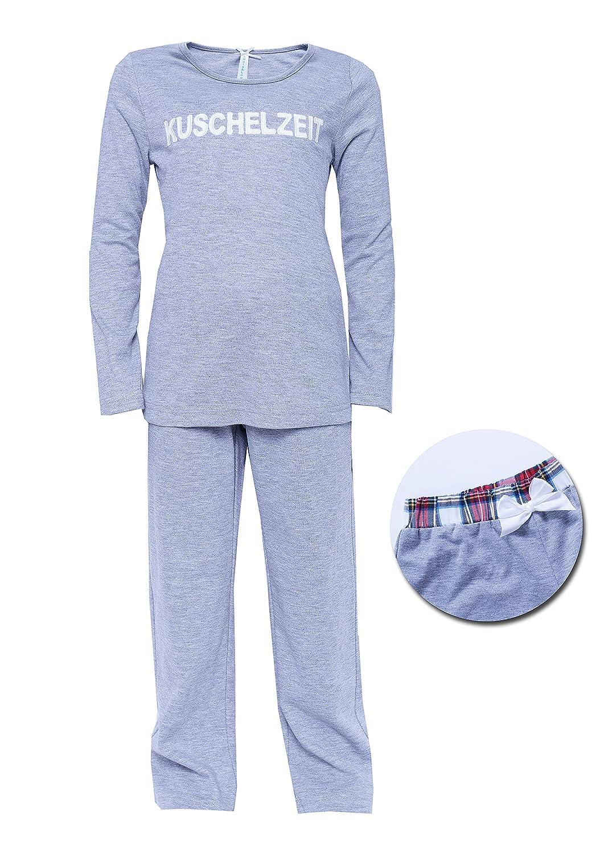 Kinder Schlafanzug grau Kuschelzeit mit Schleife Pyjama für Mädchen jetzt bestellen