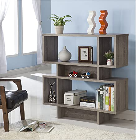 Dark Taupe Finish Wood Cube Bookcase Bookshelf Display Cabinet