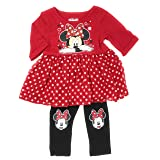 Disney Junior Toddler Girls Minnie Mouse Red Tutu Tunic & Leggings (2T)