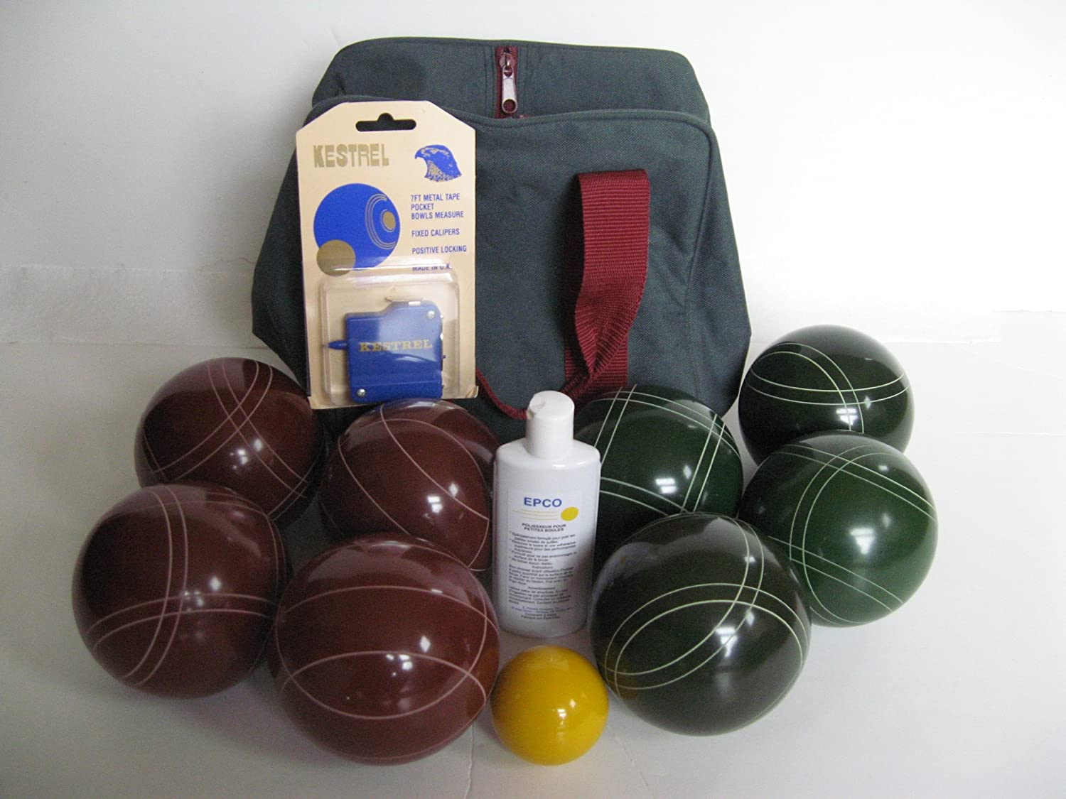 Premium Quality Basic EPCO Bocce package - 107mm Red and Green balls, quality...