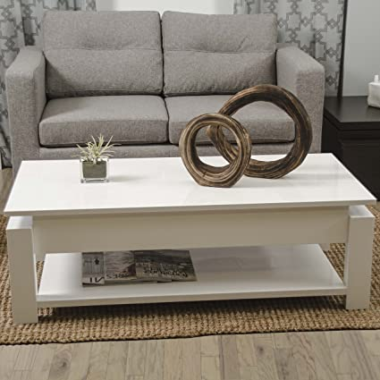 Kayla White Lacquer Lift-Top Rectangular Coffee Table