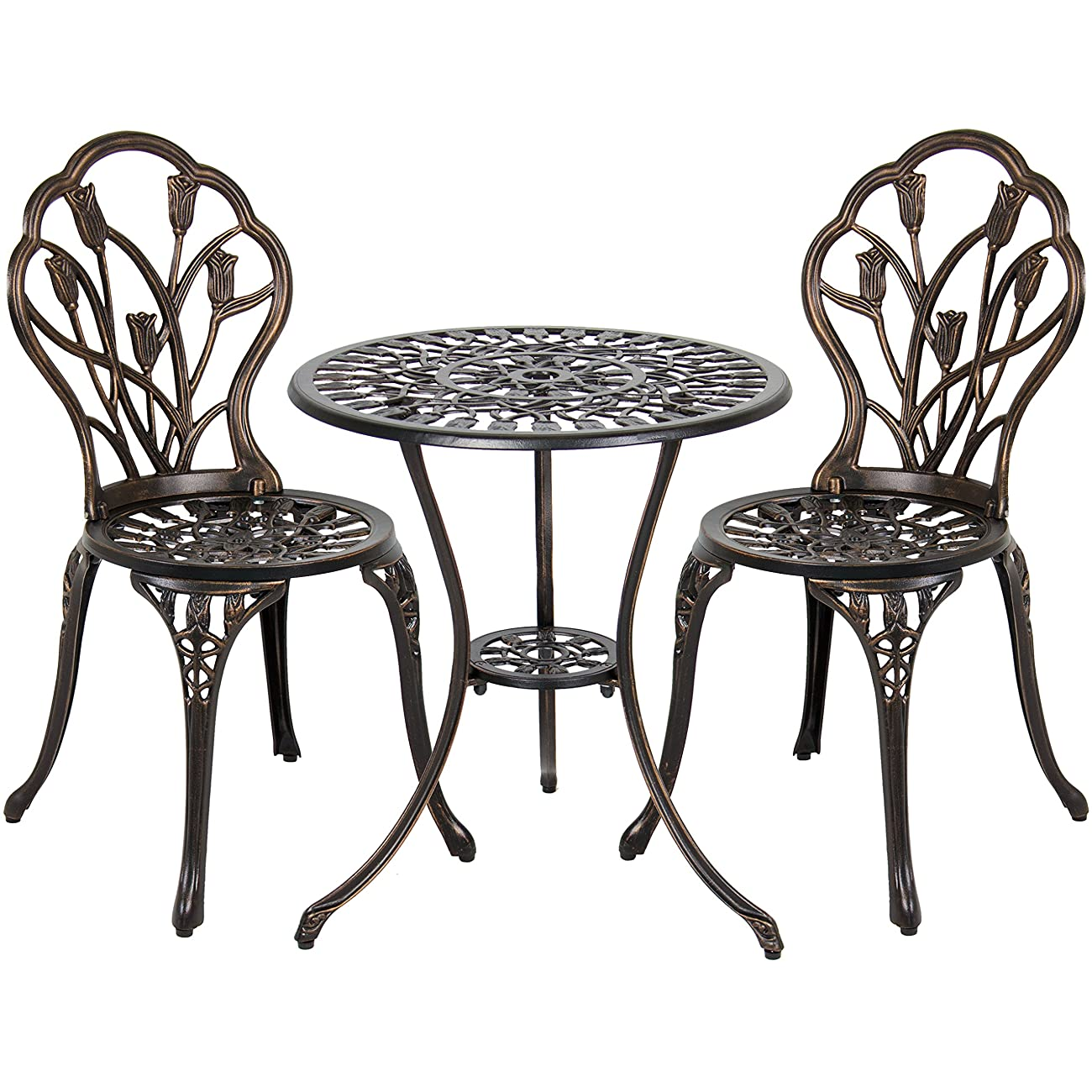Best Choice Products Outdoor Patio Furniture Tulip Design Cast Aluminum Bistro Set in Antique Copper 1