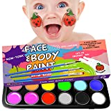 Face Painting Kits for Kids - Face Paint Kit Facepaints Halloween Makeup Face Painting Kits Professional - Water Activated Kids Face Paint Non Toxic Hypoallergenic - Baby Safe Body Paint - Stencils