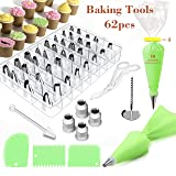 FantasyDay 62-Piece Cake Decorating Supplies Cupcake Decoration Baking Tools with 36 Piping Nozzles Icing Tips, 2 Pastry Bags, 4 Coupler, 3 Scrappers, 1 cleaning brush, 1 Flower Nails, 1 Flower Lifter (Color: #3)