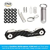 Compact Key Holder - A Carbon Fiber & Stainless Steel Key Chain Organizer that Holds Up to 18 Keys with Utility Multi-Tool - Key Gadget includes Pill Holder, Bottle Opener, Carabiner, Gift (Pack of 2)