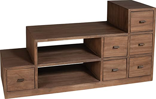 TV Cabinet 6 Drawers Dark Stairs Mindi 2 Niches
