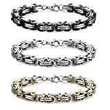 FIBO STEEL 3 Pcs 8MM Stainless Steel Chain Link Bracelets for Men Byzantine Bracelets,9.1 inches (Color: F:3 Pcs 9.1 Inches)