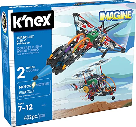 KNEX 16004 Imagine  Jeu Construction  Avion Turbo Jet Motorisé  2 Modèles