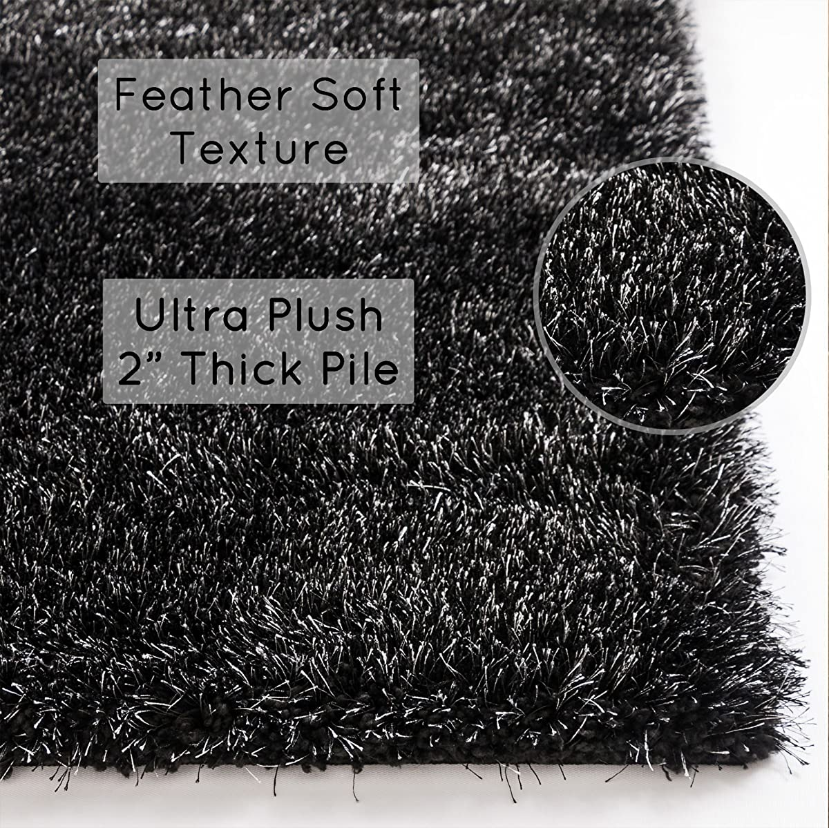 """Shimmer Shag Black Solid Plain Modern Luster Ultra Thick Soft Plush 3x5 ( 33"""" X 5 ) Area Rug Contemporary Retro Polyester Textured Two Length 2"""" Pile Yarn Easy Clean Stain Fade Resistant"""