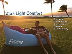 AeroNest Air Lounger. Quick Inflatable, Lightweight, Packable, and Comfortable. For Beach, Camping, and Festival relaxation