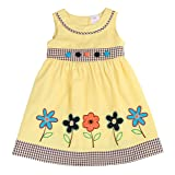 THE SILLY SISSY - Toddlers and Girls Hand Painted Flower Dress in Yellow 4T (Color: Yellow, Tamaño: 4T)