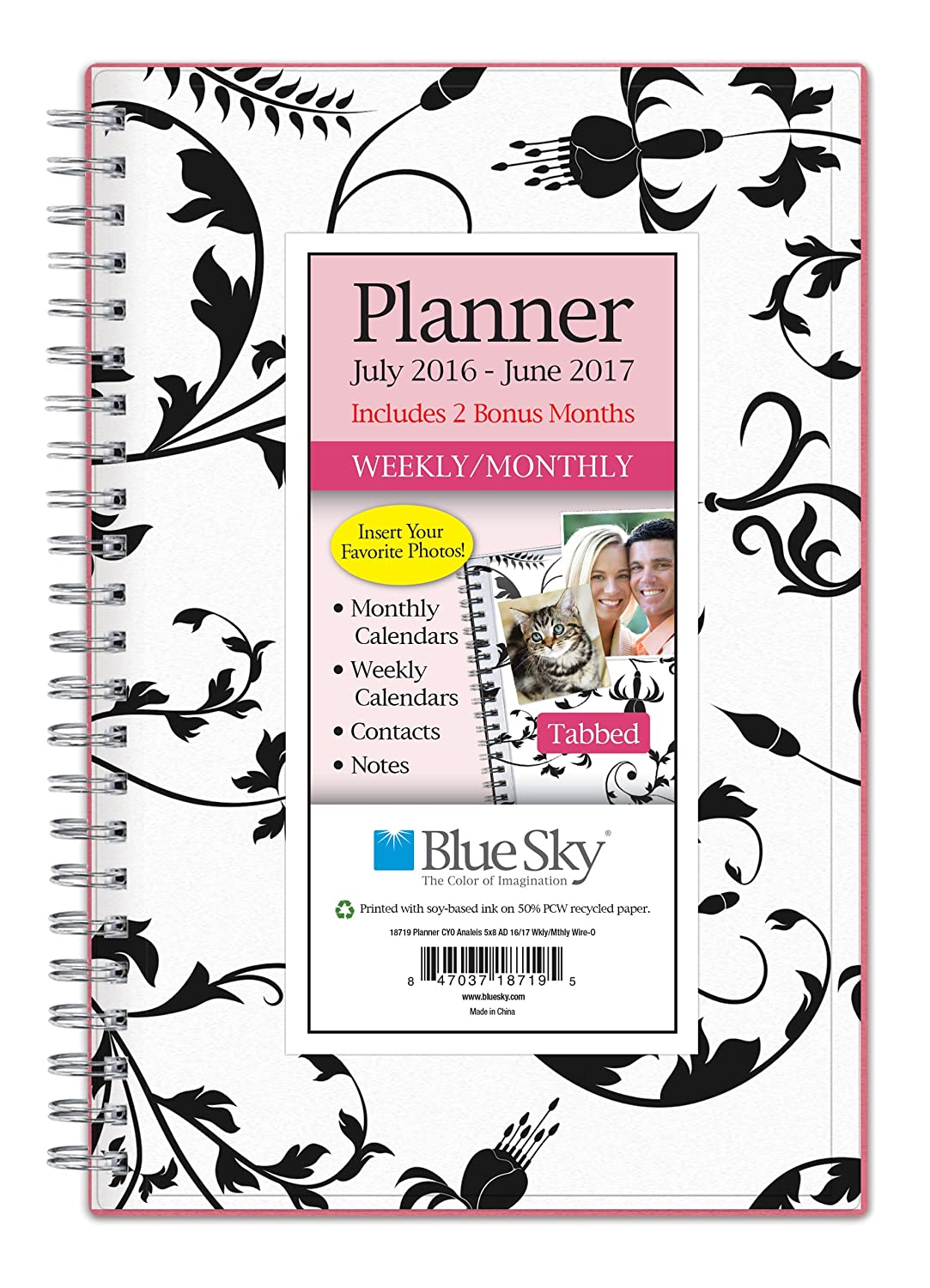 "Blue Sky 2016-2017 Academic Year Weekly & Monthly Planner, Wire-O Binding, 5"" x 8"", Analeis (18719)"