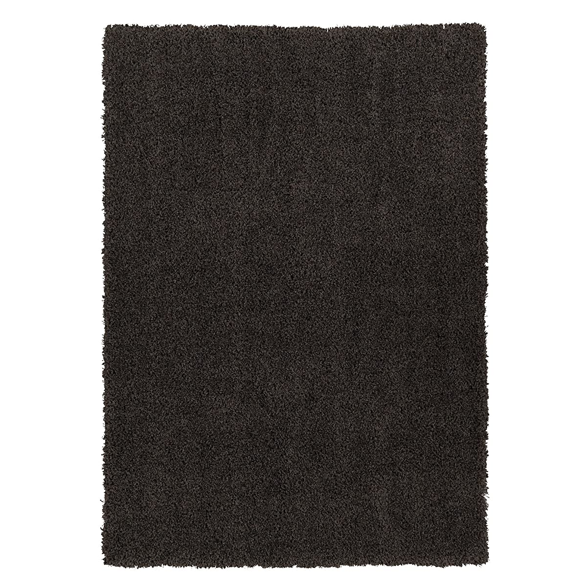 Ottomanson Soft Cozy Color Solid Shag Area Rug Contemporary Living and Bedroom Soft Shag Area Rug, Dark Grey, 710 L x 910 W
