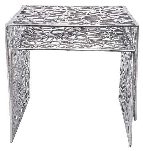 Kare 74403 Lot de 2 tables d'appoint Spidernet en aluminium