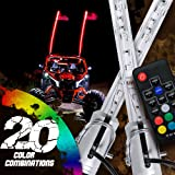 OLS 2pc 5ft LED Whip Lights w/Flag [21 Modes] [20 Colors] [Wireless Remote] [Weatherproof] Lighted Antenna Whips - Accessories for ATV Polaris RZR 4 Wheeler