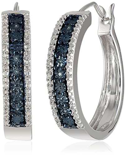 Sterling-Silver-Blue-and-White-Diamond-Hoop-Earrings-1-10-cttw-