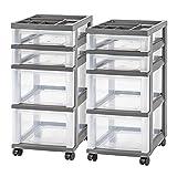 IRIS 4-Drawer Rolling Storage Cart with Organizer Top, Gray, 2 Pack (Color: Gray, Tamaño: 4-Drawer)