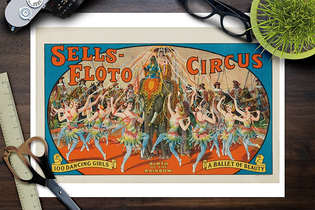 Sells - Floto Circus - Birth of the Rainbow Vintage Poster USA c. 1918 (9x12 Art Print, Wall Decor Travel Poster) 2
