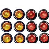 Paquete de 12 luces LED 15103 de 2 pulgadas con forma redonda, funcionan como luz de marcador lateral para camión, trailer, remolque. Kit de luz LED y arandela. 6 ámbar y 6 rojas.