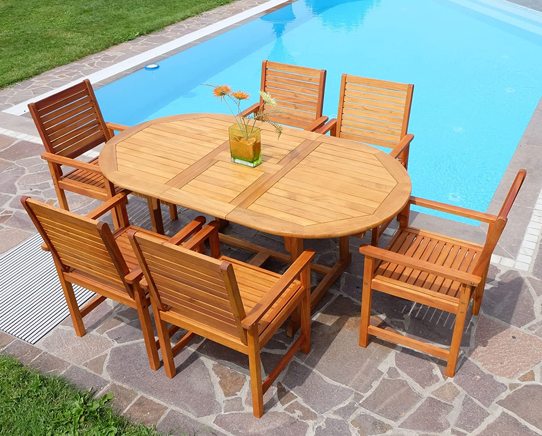 Edle Gartengarnitur Gartenset Gartenmöbel Garnitur Sitzgruppe SARIA-EU6-180 mit 6 Sessel und einem Ausziehtisch 140-180cm Holz Eukalyptus wie Teak von AS-S