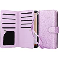 Tenker PU Leather Wallet Case for Samsung Galaxy S8 (Bling Purple)