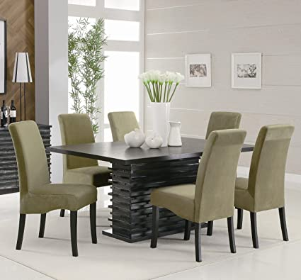 7PC Black Contemporary Dining Table Set