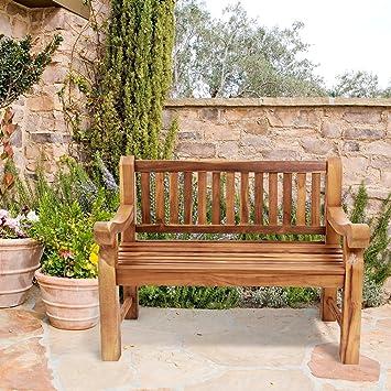 Trueshopping Kingsbridge Patio de jardín de teca Banco de madera sólida de teca Diseño clásico Banco de dos asientos sustancial