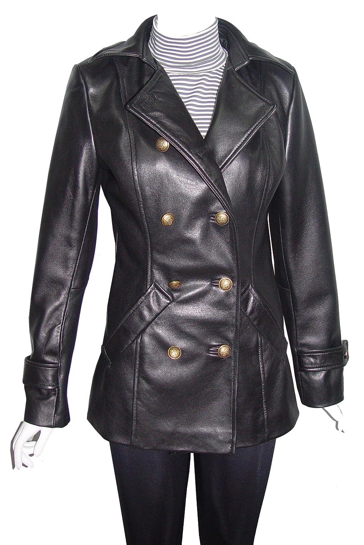 Nettailor WoHerren 4100 Leder Doppelt Brust lange Blazer Pea Mantel Taste Front günstig bestellen