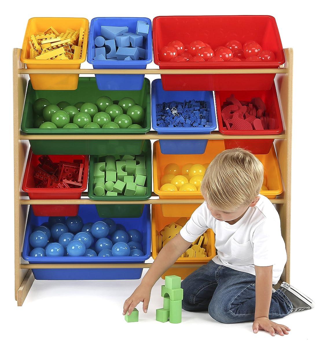 Blue Storage Kids Toy Box Playroom Furniture Bedroom Girls: Tot Tutors Kids Toy Storage Organizer With 12 Plastic Bins