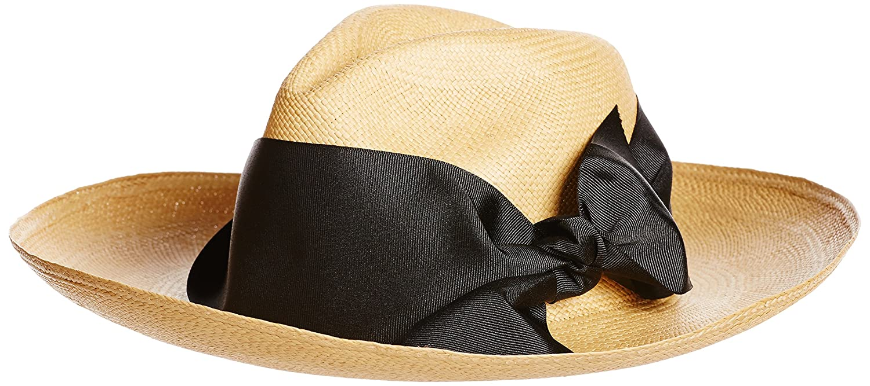 Amazon.co.jp: (センシ スタジオ)SENSI STUDIO(センシ スタジオ) Panama Hat Long brim standard quality max band bow 157 beige x white Medium: 服&ファッション小物通販