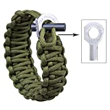 The Friendly Swede Adjustable Premium Paracord Bracelet with Fire Starter and Hidden Eye Knife (Army Green)