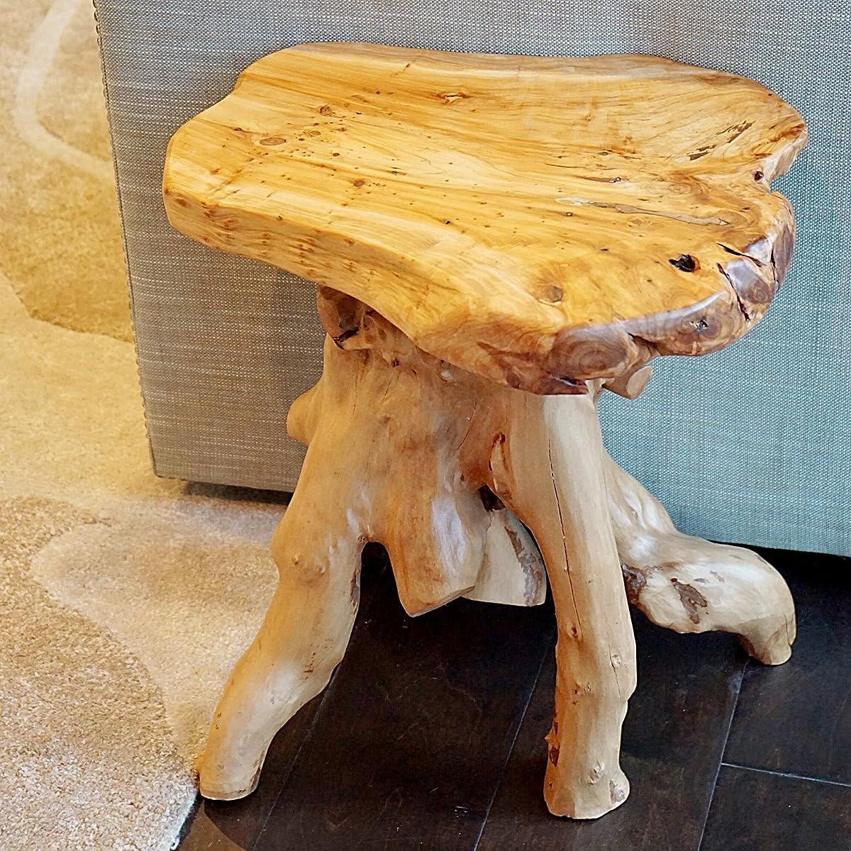 WELLAND Cedar Root Wood Log Side Table, End Table, Rustic Primitive Natural Live Edge