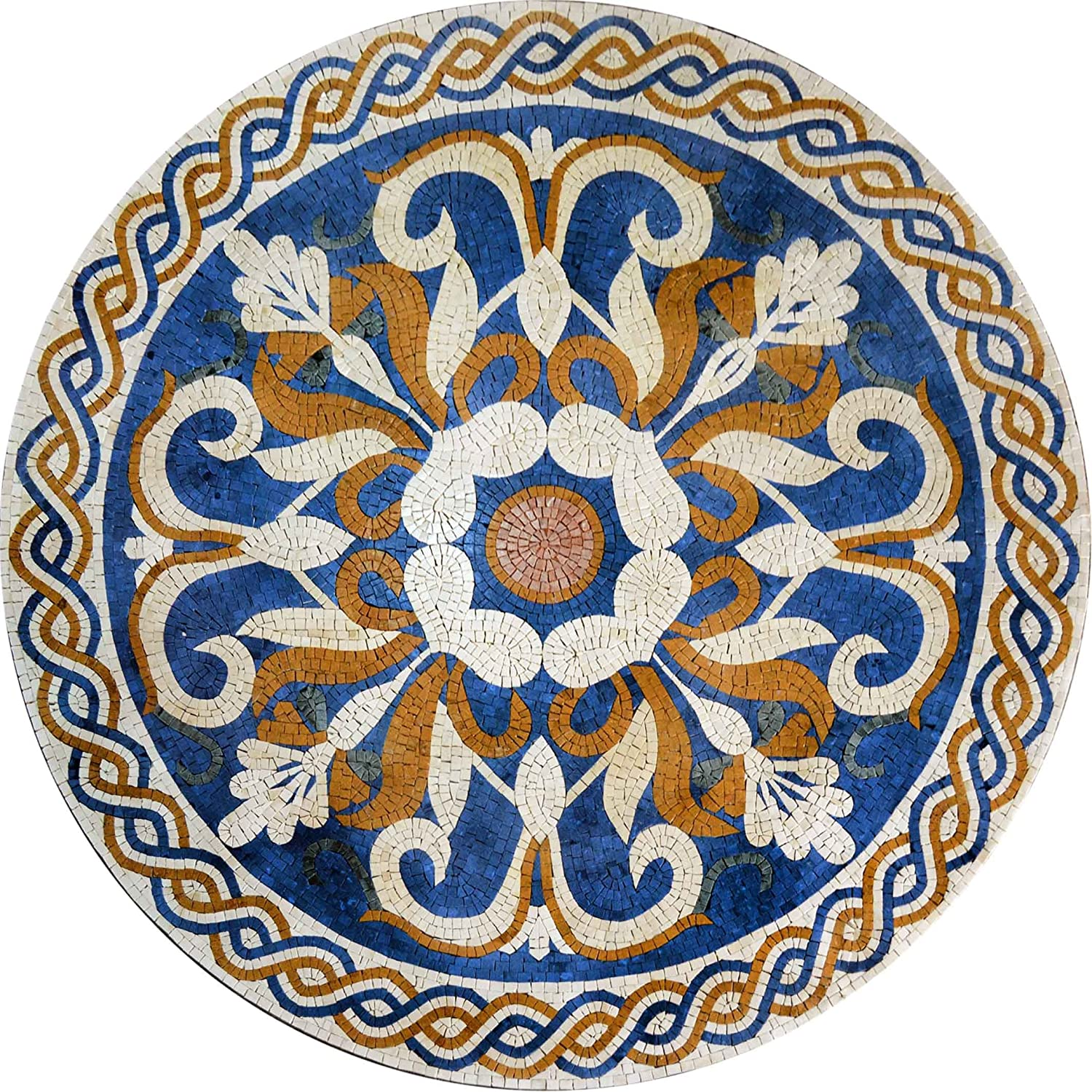 Floral Designed Medallion Hand Made Mosaic Marble Decorative Tiles Floor Wall Table Top