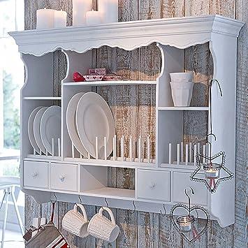 Tellerregal Küchenregal 7 Fächer 4 Schubladen 6 Haken