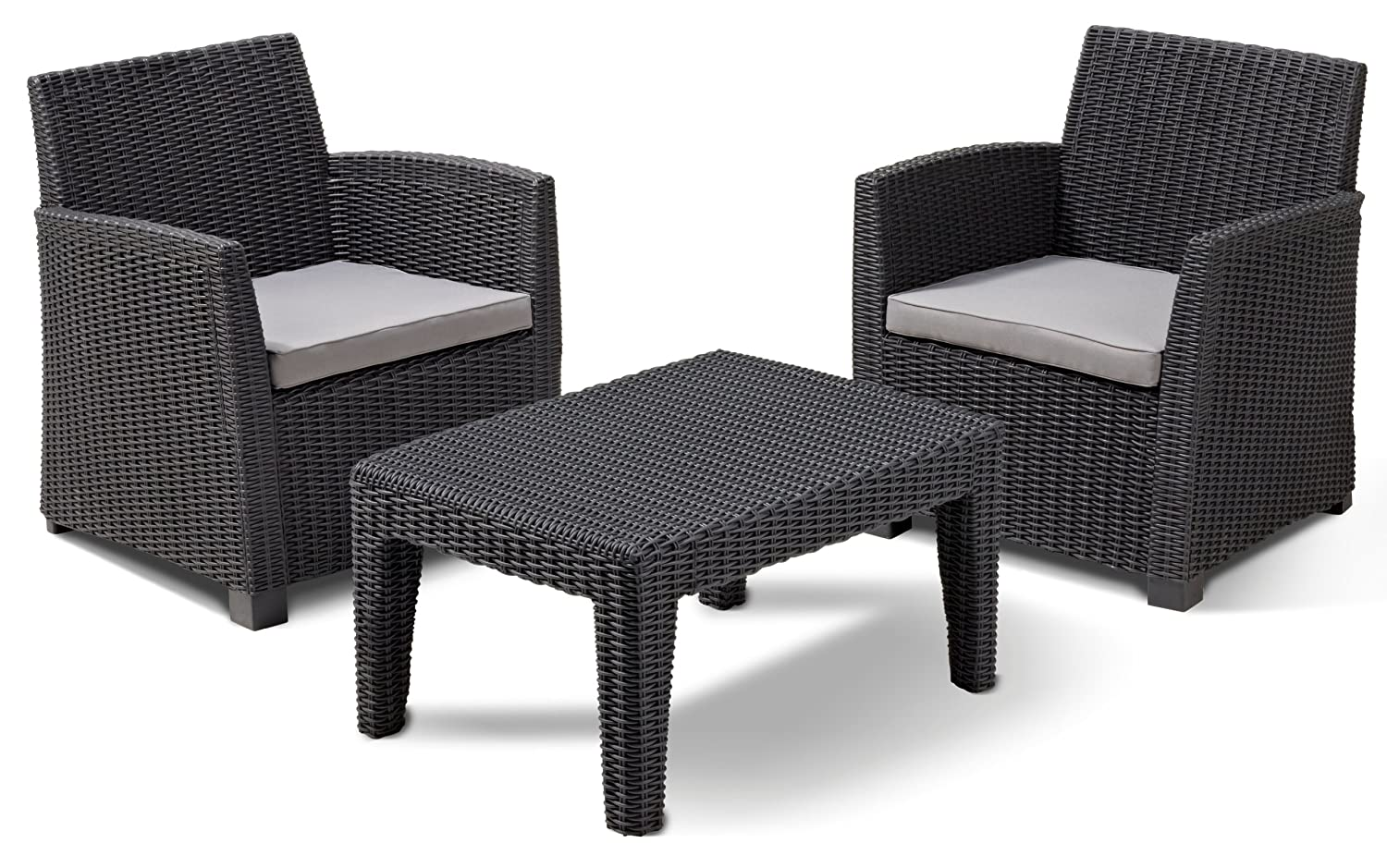 Allibert 212429 Lounge Set Corona Balcony  (2 Sessel, 1 Tisch), Rattanoptik, Kunststoff, graphit
