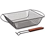 Charcoal Companion Non-Stick Shaker Basket for Grilling with Rosewood Handle