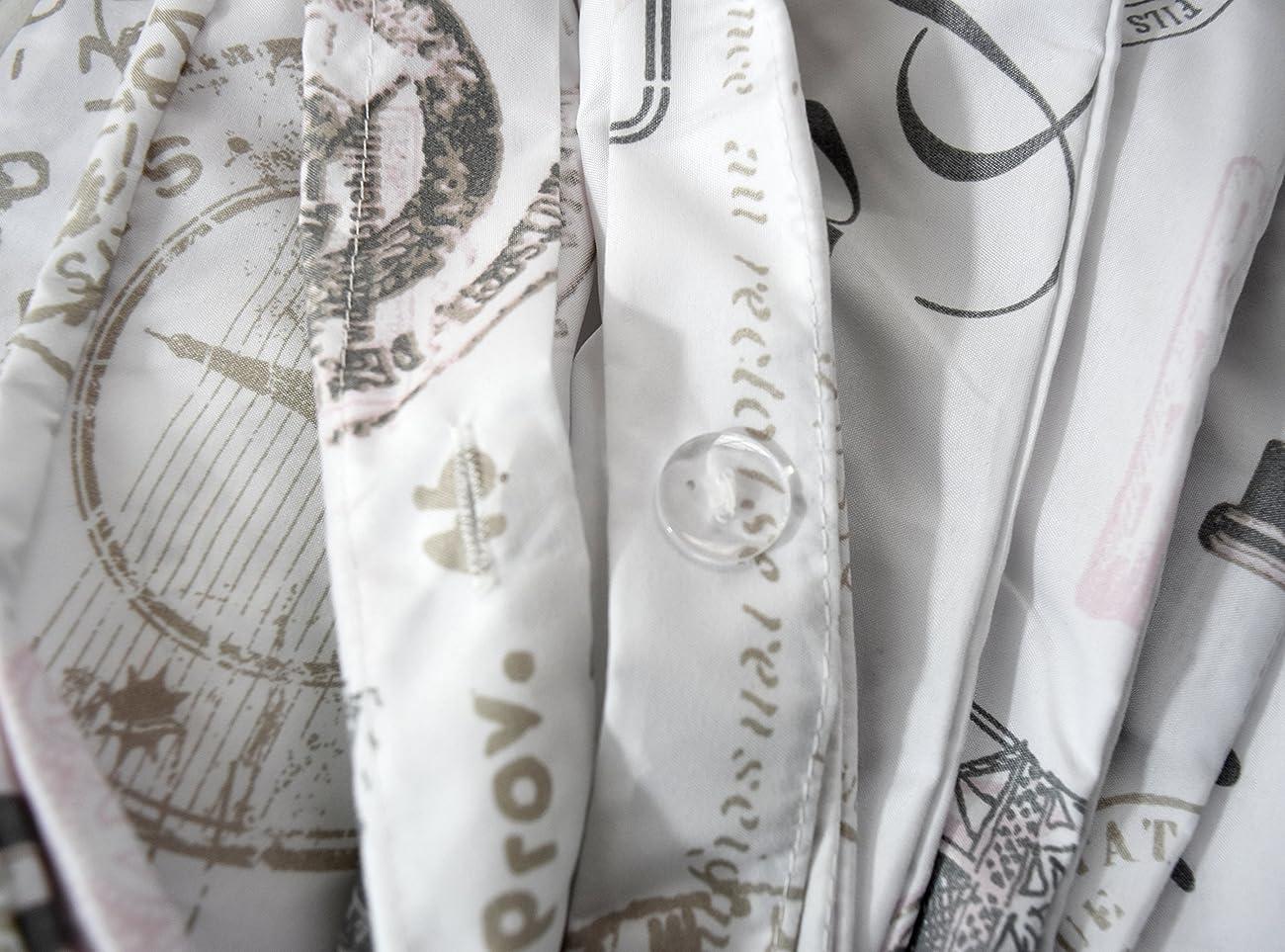 Paris French Vintage Duvet Quilt Cover by Designer Nicole Miller, Bedding Set Grey Tan Dusty Rose Pink Eiffel Script Parisian Theme on White (Queen) 3