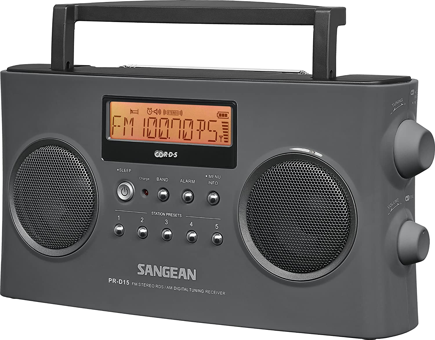 Sangean PR-D15 FM-Stereo/AM Rechargeable Portable Radio with Handle at Amazon.com