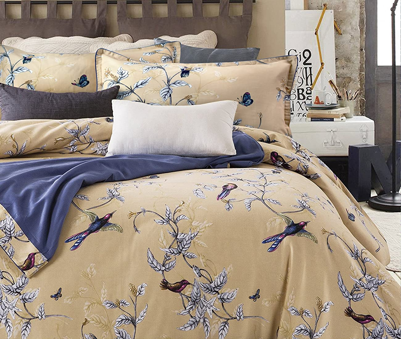 Luxury Jacobean Floral Garden 3 Piece Duvet Cover Set Beige Blue English Vintage Floral Pattern 100-percent brushed Cotton Twill (Full/Queen) 0