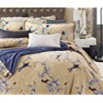 Luxury Jacobean Floral Garden 3 Piece Duvet Cover Set Beige Blue English Vintage Floral Pattern 100-percent brushed Cotton Twill (Full/Queen)