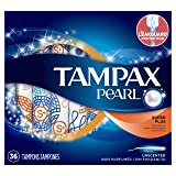 Tampax Pearl Plastic Tampons, Super Plus Absorbency, Unscented, 36 Count - Pack of 2 (72 Total Count) (Tamaño: 36)