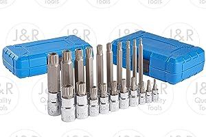 J&R Quality Tools 20pc XZN 12 Point MM Triple Square Spline Bit Socket Set Tamper Proof Set
