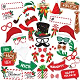 Christmas Photo Booth Props 38pc - Artist Rendered Christmas Games for Party Supplies - Picture Backdrop Decorations Set Favors - Games For Kids & Adults - Holiday Photo Booth Selfie Props Photography (Color: Multicolor)