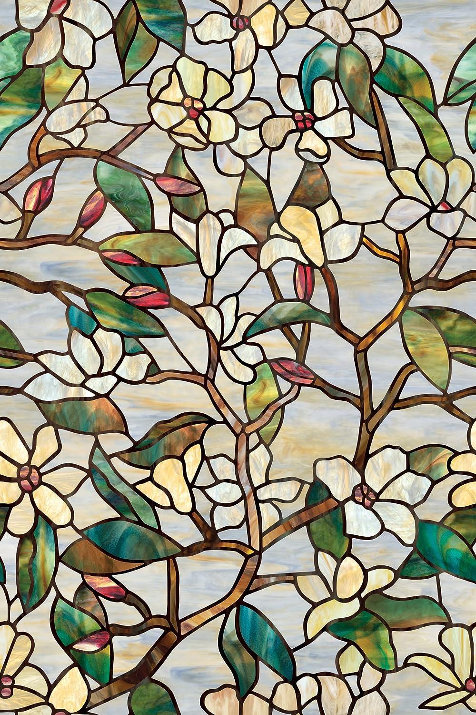 Window acrylic plexiglass window film summer magnolia self for Stained glass window film