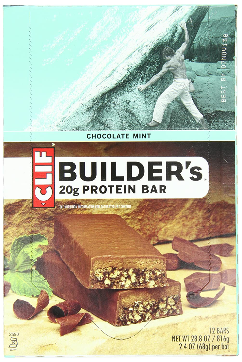 Clif Bar Builder's Bar, Chocolate Mint, 2.4-Ounce Bars, 12 Count (as low as $9.77 )