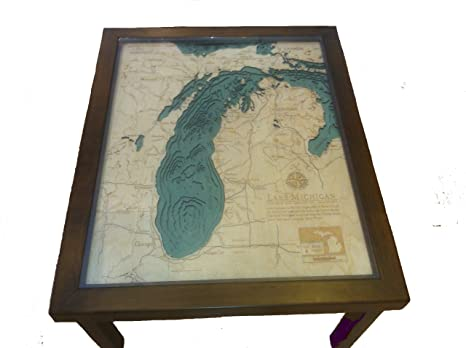 "Lake Michigan 3-D Wood Nautical Chart Coffee Table 34"" X 27.5"""