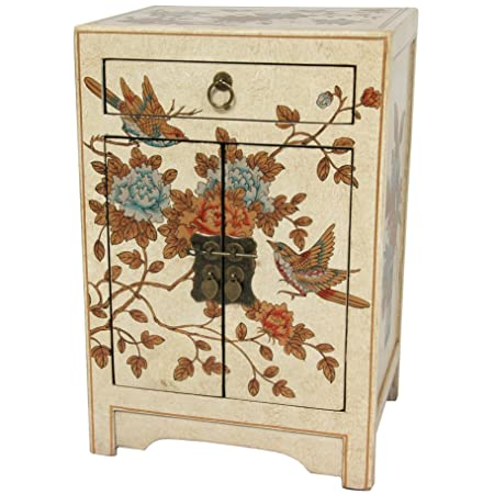 ORIENTAL FURNITURE Ivory Peaceful Birds End Table Cabinet Ivory